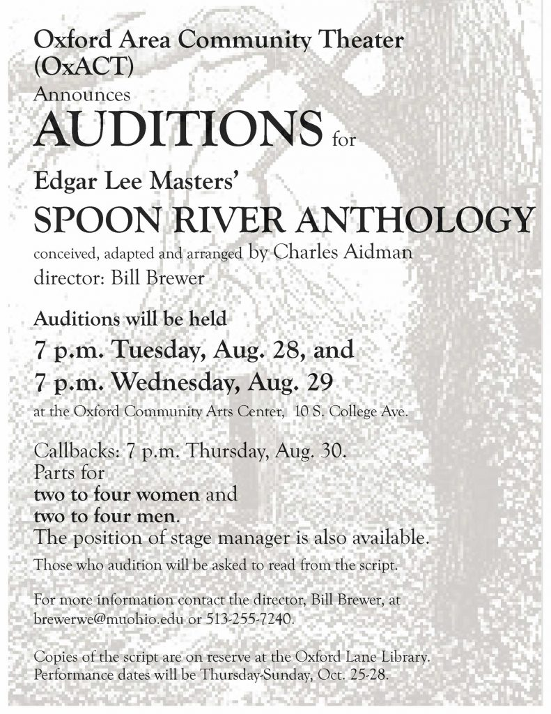Spoon River Anthology Auditions
